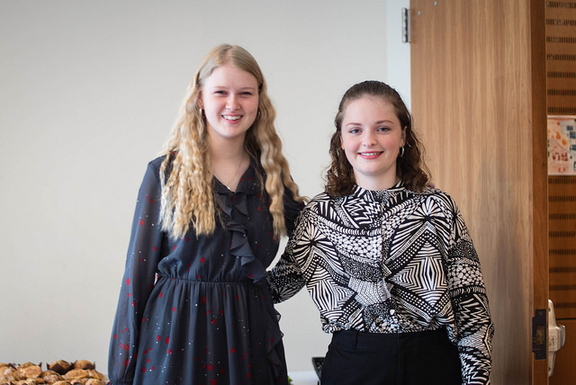 Two students during Danish Exchange Student presentations
