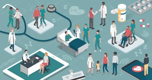 Various little humans in hospital scene comprised of mobole devices