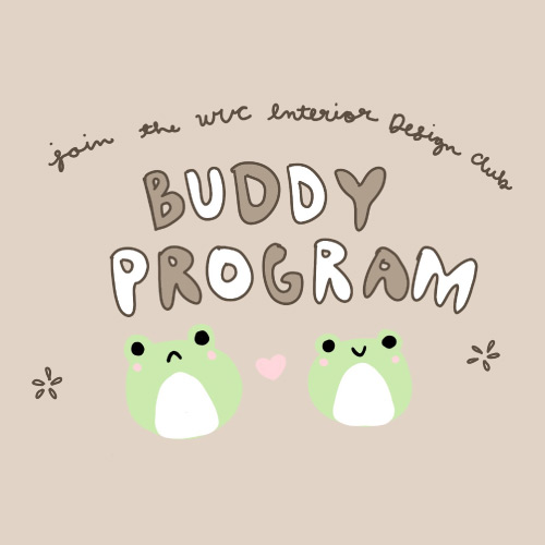 Two frogs, one sad, one happy under text Buddy Program
