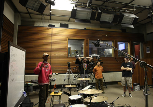 Student band in studio