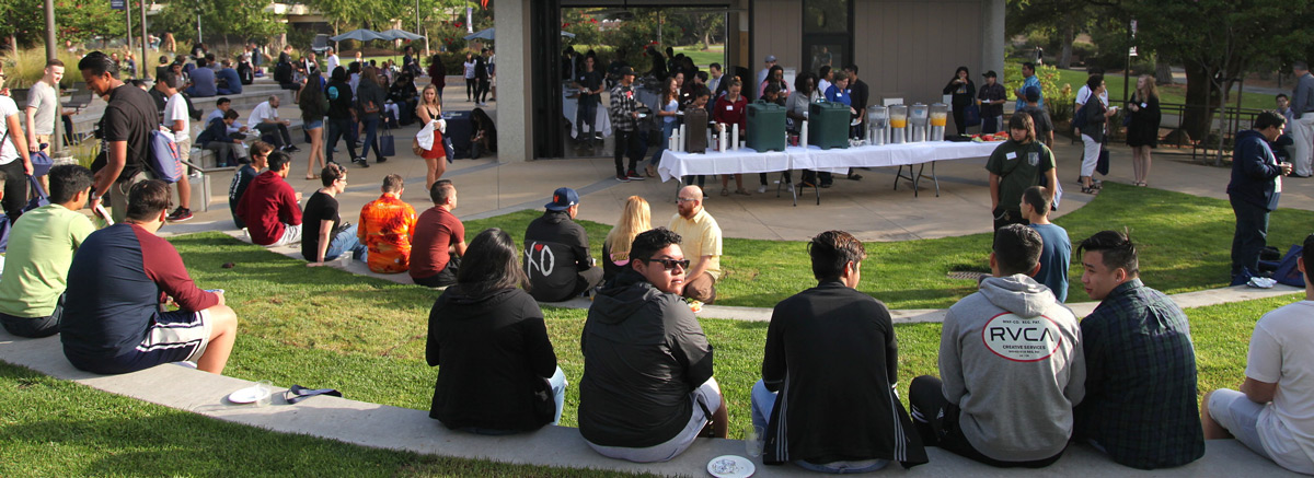 Students gathered in the Viking Grove during an event