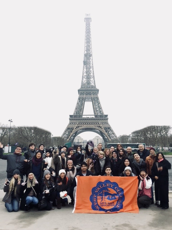 West Valley students in front of the Eiffel Tower