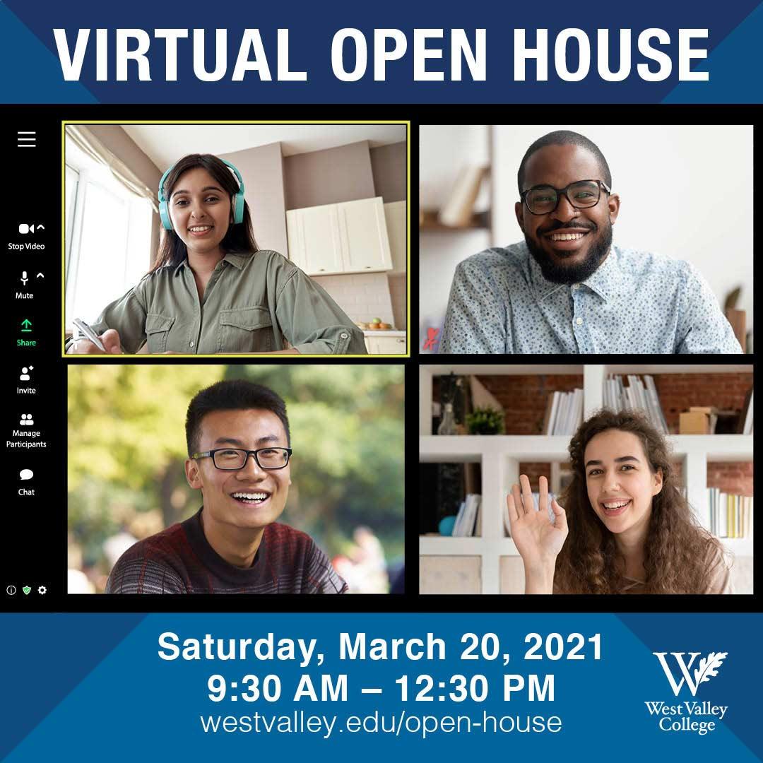 Open House event details on orange background