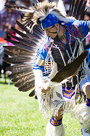 Beautiful photo of a Native American dancer tracking.