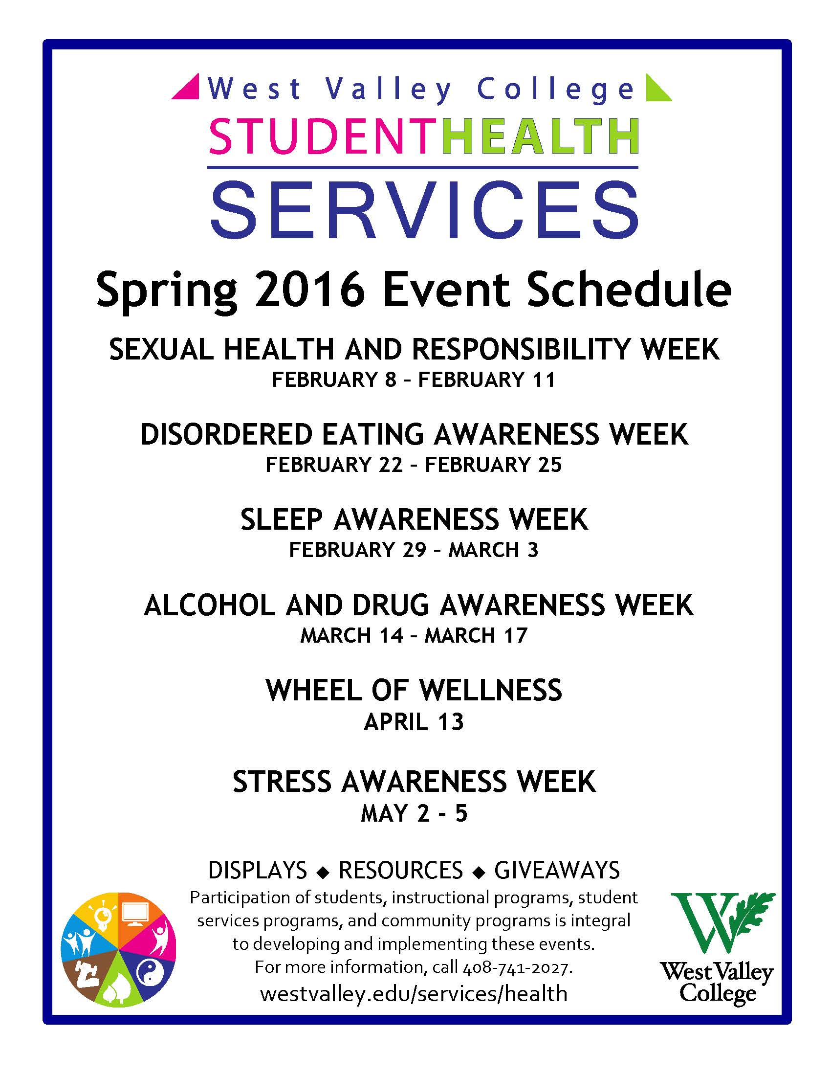 Health Services Spring Events