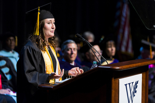 Valedictorian student speaking during graduation ceremony