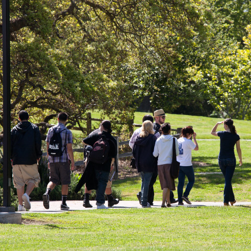 Students on group tour walking through campus