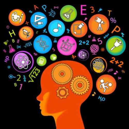 Stock photo of orange brain with science symbols in different colors floating above