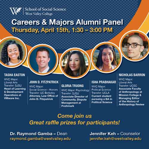 Graphic with five speakers for alumni panel