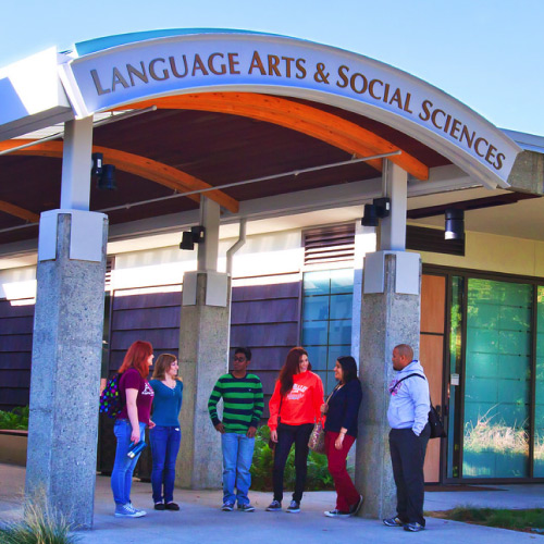 Students gathered in front of Language Arts and Social Science