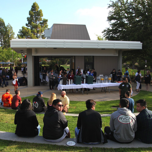 Student gathered in Viking Grove during event