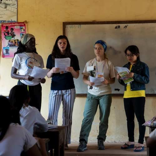 West Valley Study Abroad students presenting in Cambodian school