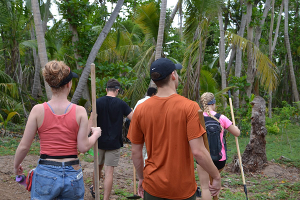 SL students venturing into a Puerto Rican forest
