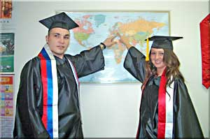 Two international students pointing to their home country on map