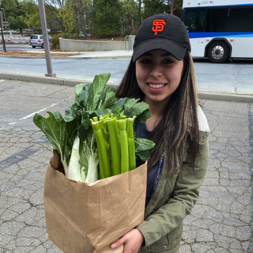 Student holding bag of groceries with celery exposed