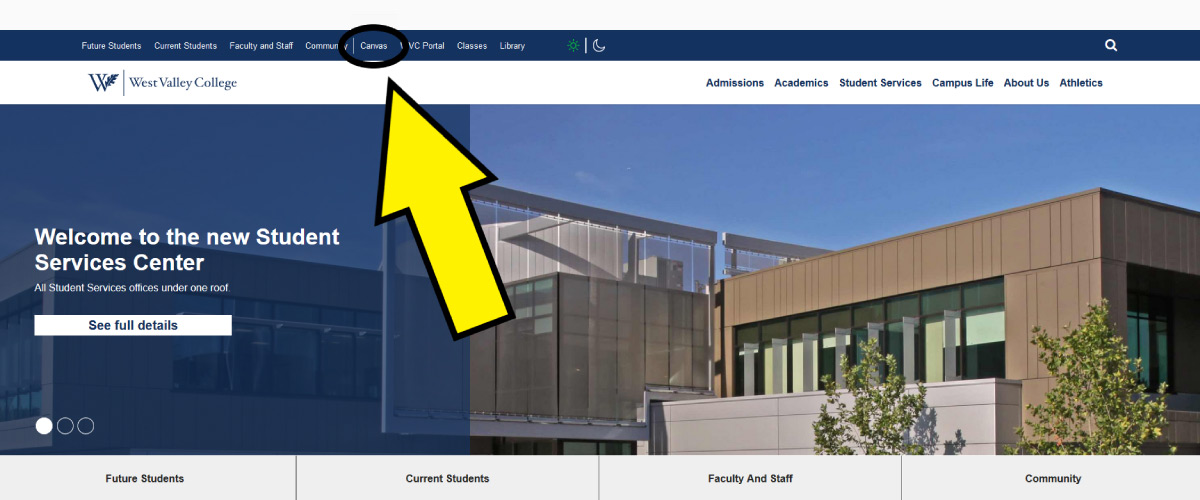 Canvas link on West Valley College homepage