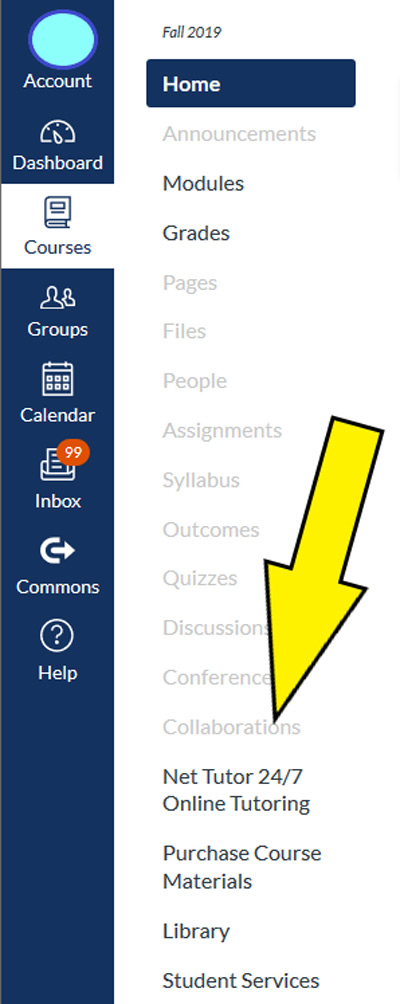 Large yellow arrow pointing to NetTutor in list