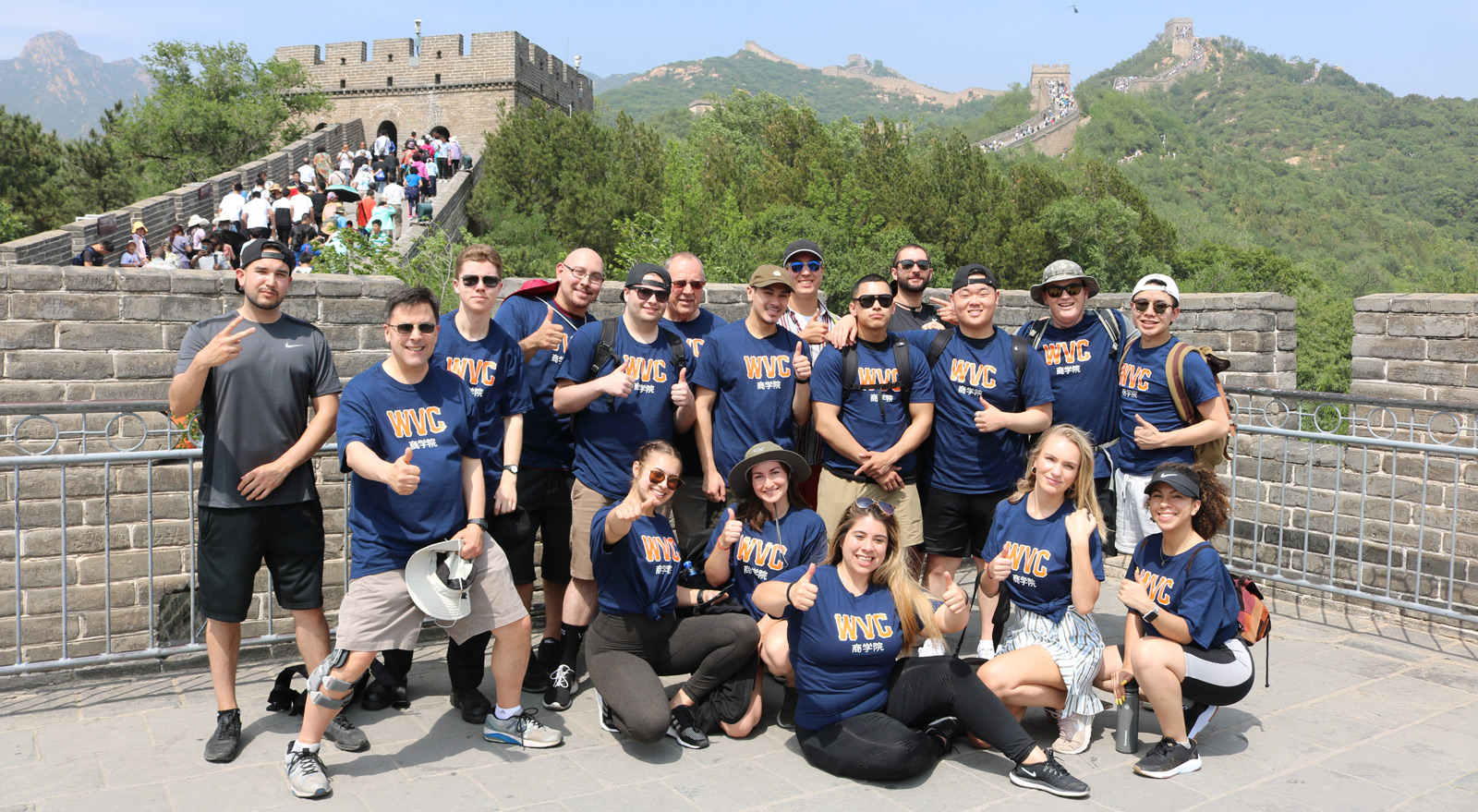 Study Abroad students at the Great Wall of China